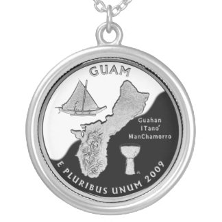 Guam state quarter silver plated necklace