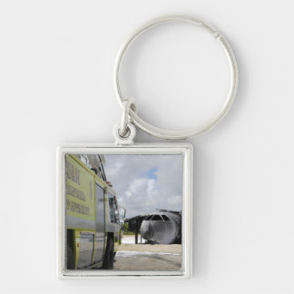 Guam's WONPAT Airport Silver-Colored Square Keychain