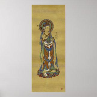 Guan Yin Buddha Bamboo Background Art Print