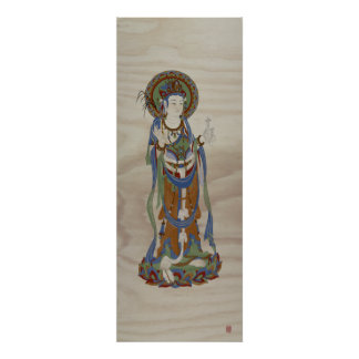 Guan Yin Buddha Doug Fir Background Art Print