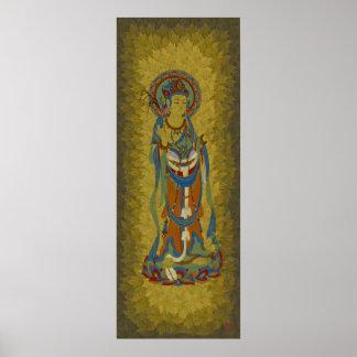 Guan Yin Buddha Maple Leaf Background Canvas Print