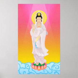guan yin in art deco poster