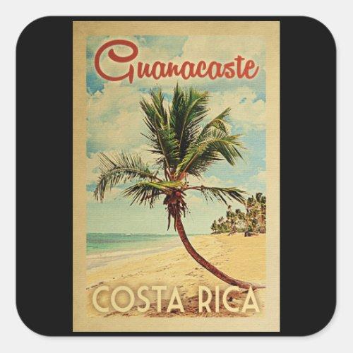 Guanacaste Palm Tree Vintage Travel Square Sticker