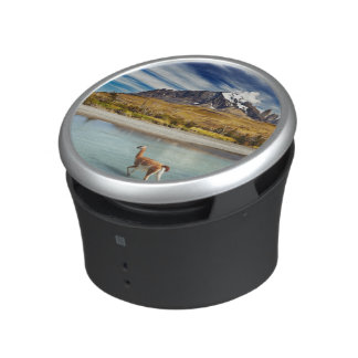 Guanaco crossing the river in Torres del Paine Bluetooth Speaker