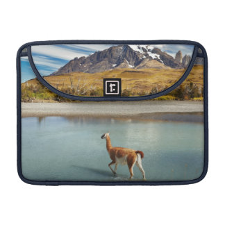 Guanaco crossing the river in Torres del Paine Sleeve For MacBook Pro