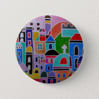 Guanajuato Mexico Abstract Painting Pinback Button