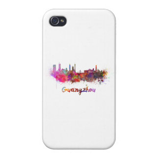 Guangzhou skyline in watercolor cover for iPhone 4