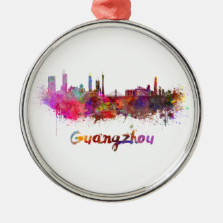 Guangzhou skyline in watercolor splatters metal ornament