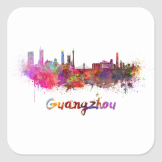 Guangzhou skyline in watercolor splatters square sticker