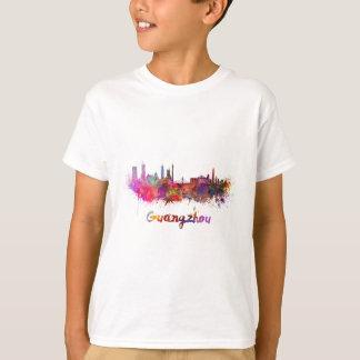 Guangzhou skyline in watercolor splatters T-Shirt