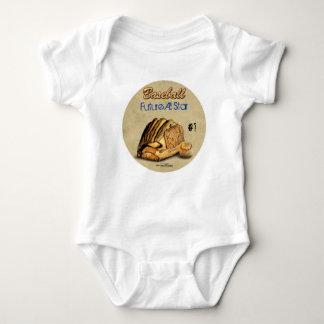 Guante de béisbol - cuero marrón body para bebé