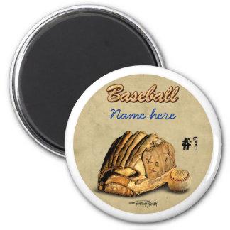 Guante de béisbol - cuero marrón imán redondo 5 cm