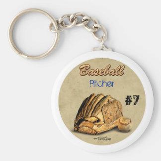 Guante de béisbol - cuero marrón llaveros