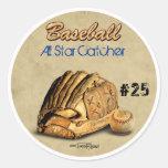 Guante de béisbol - cuero marrón pegatina redonda