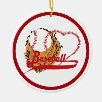 Guante de béisbol y corazón del béisbol ornamentos para reyes magos