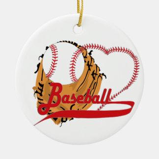 Guante de béisbol y corazón del béisbol ornamento de navidad