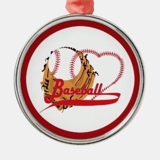 Guante de béisbol y corazón del béisbol adornos