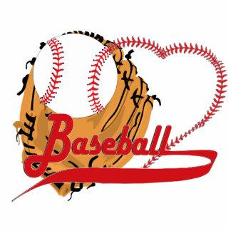 Guante de béisbol y corazón del béisbol esculturas fotograficas