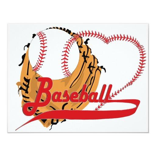 Guante de béisbol y corazón del béisbol invitación 10,8 x 13,9 cm