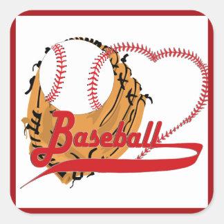 Guante de béisbol y corazón del béisbol calcomania cuadradas personalizadas