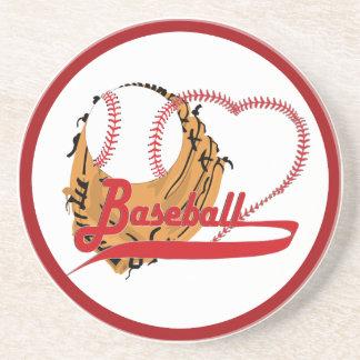 Guante de béisbol y corazón del béisbol posavasos para bebidas