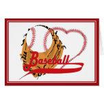Guante de béisbol y corazón del béisbol tarjeta de felicitación