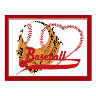 Guante de béisbol y corazón del béisbol tarjeta postal