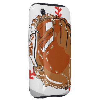 guante de béisbol y diseño del vector del béisbol tough iPhone 3 fundas