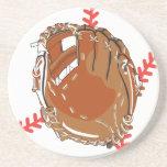 guante de béisbol y diseño del vector del béisbol posavaso para bebida