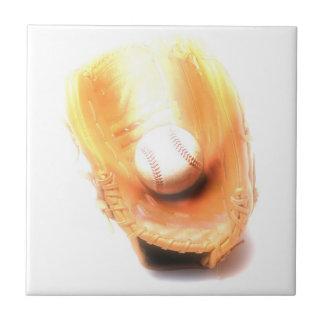 Guante y bola de béisbol azulejo cerámica