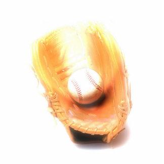 Guante y bola de béisbol esculturas fotográficas