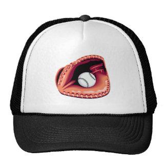 Guante y bola de béisbol gorros bordados