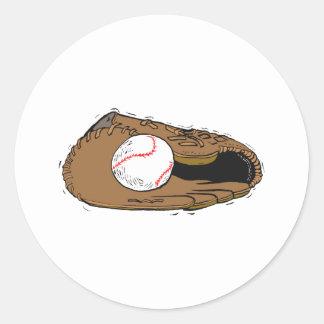 Guante y bola de béisbol pegatinas redondas