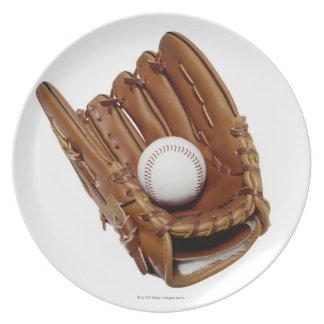 Guante y bola de béisbol platos para fiestas