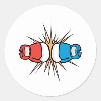 guantes de boxeo de coincidencia pegatina redonda