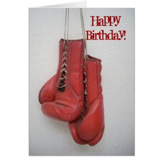 Guantes de boxeo de la tarjeta del feliz cumpleaño