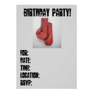 Guantes de boxeo de las invitaciones de la fiesta anuncio