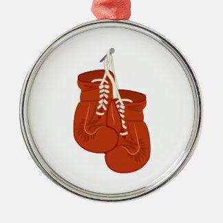 Guantes de boxeo adorno redondo plateado