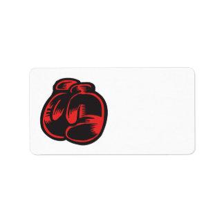 Guantes de boxeo etiqueta de dirección