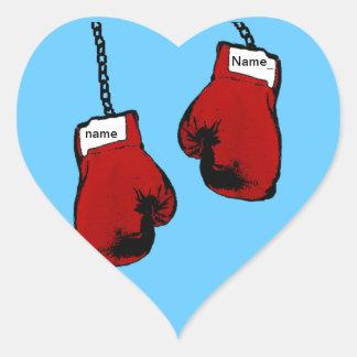Guantes de boxeo pegatinas de corazon