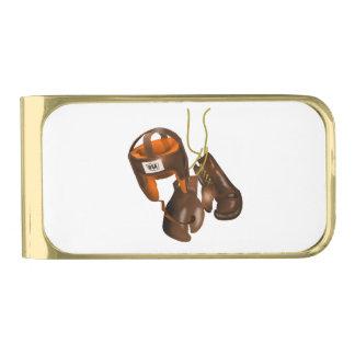 Guantes y casco de boxeo del vintage clip para billetes dorado
