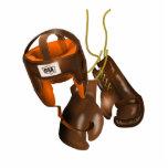 Guantes y casco de boxeo del vintage fotoescultura vertical