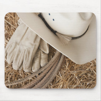 Guantes y cuerda del gorra de vaquero en haystack alfombrillas de ratones