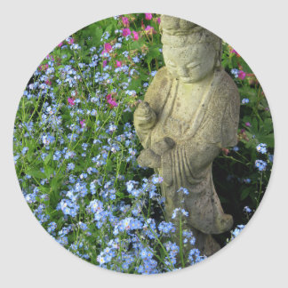 Guanyin and Forget-Me-Nots, photograph Classic Round Sticker