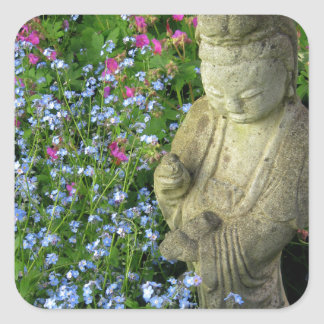 Guanyin and Forget-Me-Nots, photograph Square Sticker