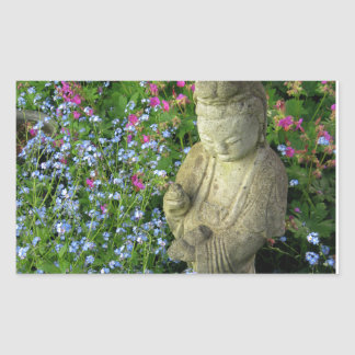 Guanyin and Forget-Me-Nots, photograph Rectangle Stickers