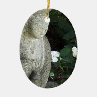 Guanyn Surrounded by White Impatiens Ceramic Ornament