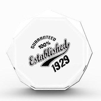 Guaranteed 100% Established 1929 Acrylic Award