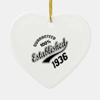 Guaranteed 100% Established 1936 Ceramic Ornament