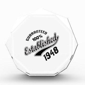 Guaranteed 100% Established 1948 Acrylic Award